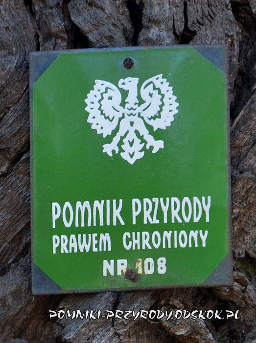 tabliczka na dębie Żegrowiak