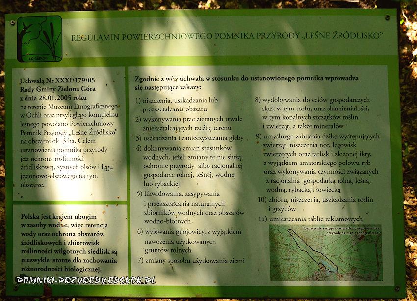 regulamin powierzchniowego pomnika przyrody Leśne Źródlisko