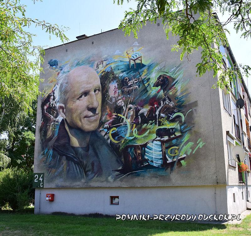 Kargowa - mural z wizerunkiem M. Kozłowskiego