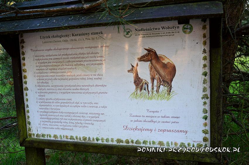 tablica przed użytkiem ekologicznym Karasiowy Stawek