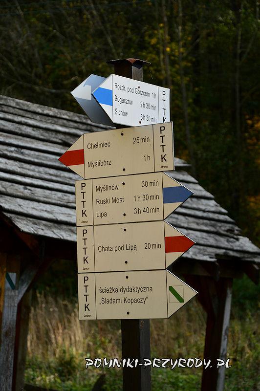 Chełmiec - Jerzyków - skrzyżowanie szlaków turystycznych