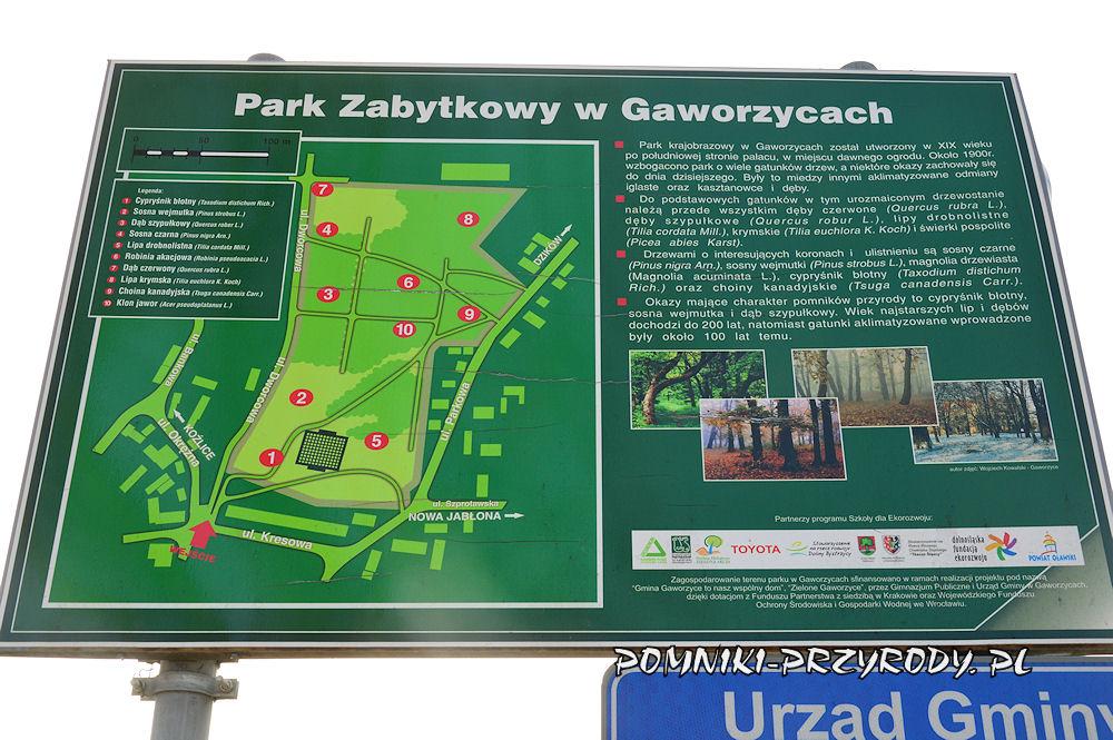 plan parku w Gaworzycach
