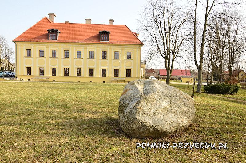 okazały eratyk na tle pałacu w Gaworzycach
