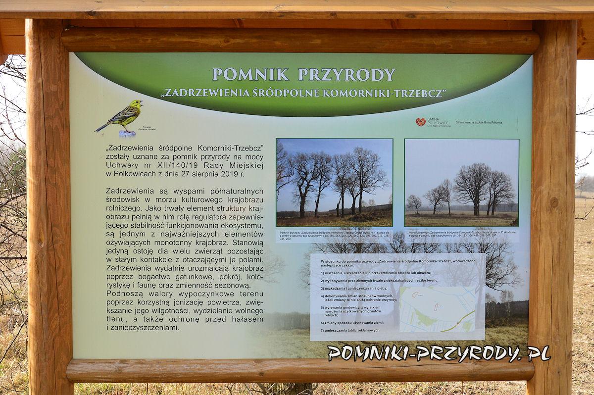 tablica Zadrzewienia śródpolne Komorniki - Trzebcz
